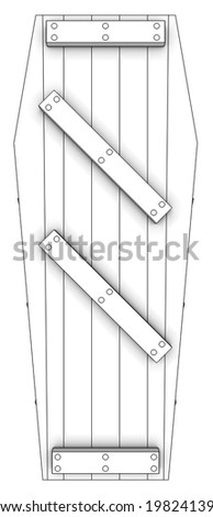 Coffin. isolated white background. 3d. - stock photo