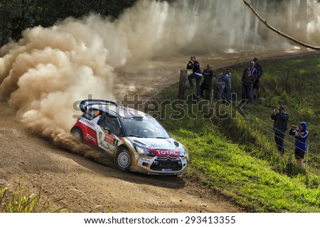 COFFS HARBOUR, AUSTRALIA - SEP 14: Crew number four M. Ostbert, J.ANdersson in a Citroen C2 WRC 2014 race in Coffs Harbour , Australia on 14 September 2014 - stock photo