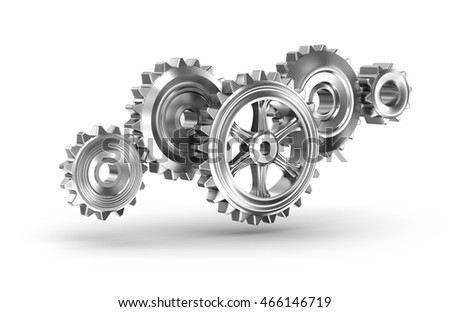 Cog gears mechanism concept. 3D illustration