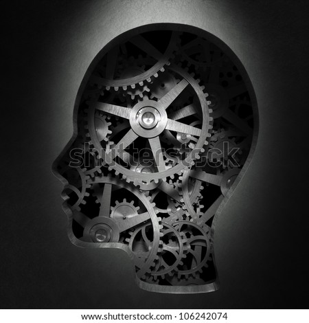 Cog wheels and gear inside a head shape -psychology and creativity concept illustration