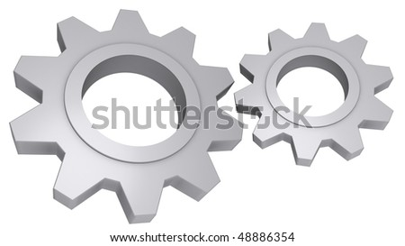 Cog Wheels; Concept depicting cooperation, teamwork, progress, technology and industrial elements. - stock photo