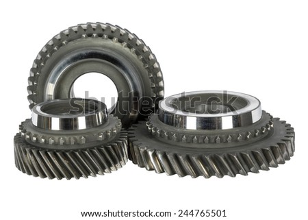 Cog wheels removed from the mainshaft of gearbox - stock photo
