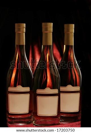 Cognac bottles - stock photo