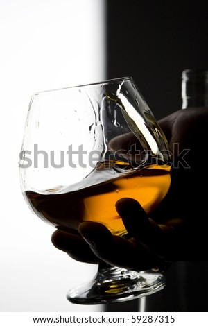 Cognac on the glass . Brown scotch