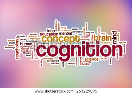 Cognition word cloud concept with abstract background - stock photo