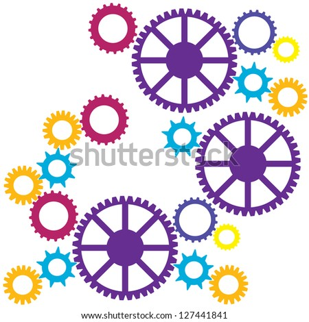 Cogs colorful seamless pattern. Raster version - stock photo