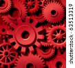 cogs gears in motion red background team work connected technology - stock photo