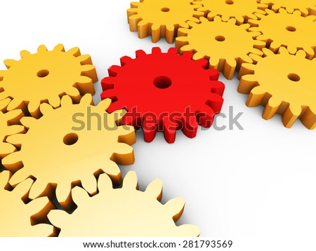 Cogs Interconnected Meaning Work Together And Connection - stock photo