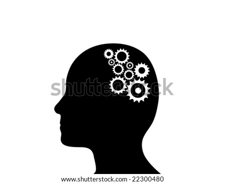 Cogs working in the brain. - stock photo