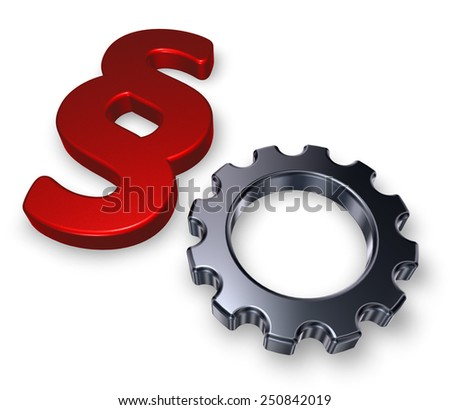 cogwheel and paragraph symbol on white background - 3d illustration - stock photo