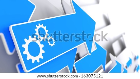Cogwheel Gear Mechanism Icon on Blue Arrow on a Grey Background. - stock photo