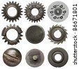 Cogwheels and other metal details - stock photo