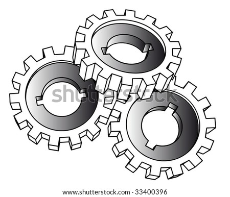 cogwheels - isolated illustration on white (vector also available)