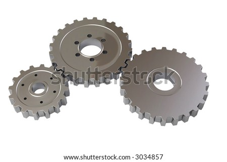 Cogwheels isolated over a white background. This is a 3D rendered picture.
