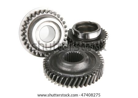 cogwheels on white - stock photo