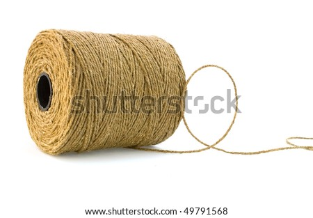 coil of coarse linen rope on white - stock photo