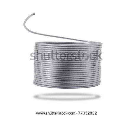 coil of galvanized wire - stock photo