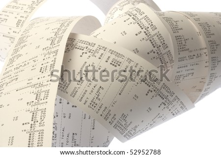 coil of paper from a printing adding machine or cash register - stock photo