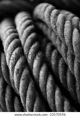 Coil of rope used on ship - stock photo