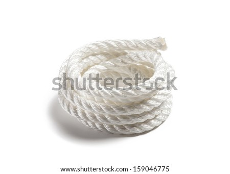 Coil of white rope on isolated background
