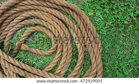 coiled brown rope in grass and clover
