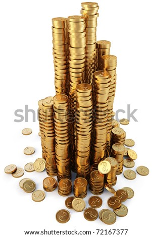 coiled into a spiral diagram of golden coins isolated on white. with clipping path. - stock photo