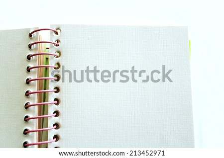Coiled Notebook with Blank White Page