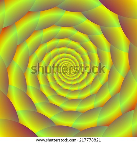 Coiled Yellow Rope Tunnel /  A digital abstract fractal image with a coiled rope spiral design in yellow, green and orange. - stock photo