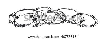 Coils of Sharp razor wired that is used as a barrier - path included - stock photo