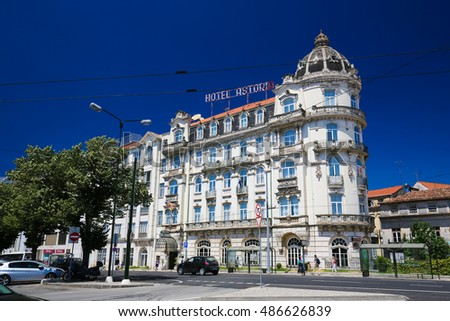 COIMBRA, PORTUGAL - AUGUST 1, 2016: Art Nouveau style Hotel Astoria in the historic center of Coimbra, Portugal. This hotel was built in the 1920s.