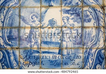 COIMBRA, PORTUGAL - JULY 31, 2016: Azulejo tilework in Coimbra, Portugal, depicting Psalm 83:6