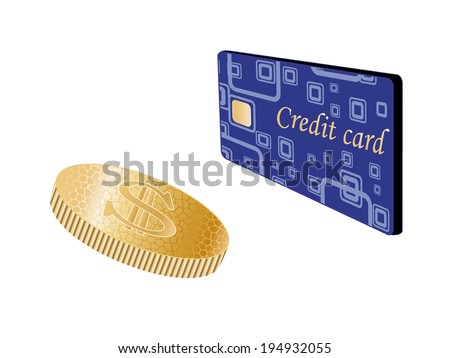 coin and credit card - stock photo