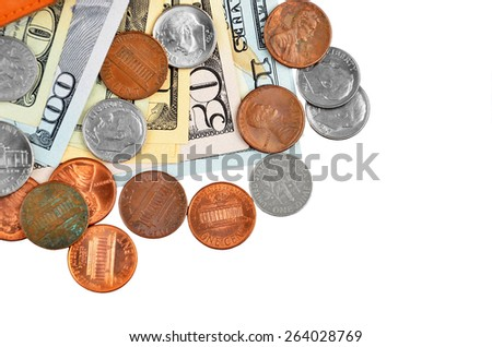 Coin and dollar banknote, isolated on white background - stock photo