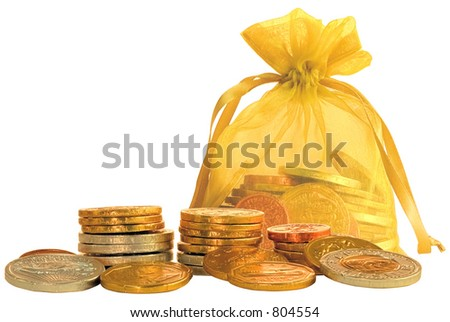 Coin Bag & Stacks of Gold, Copper & Silver Chocolate Coins ~ Isolated Object - stock photo