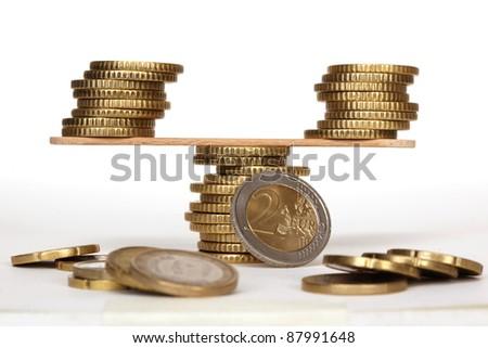 Coin balance - stock photo