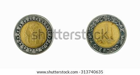 Coin Egypt 1 pound  2005 - stock photo