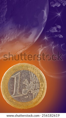 coin euro as planet in space, imagination - stock photo