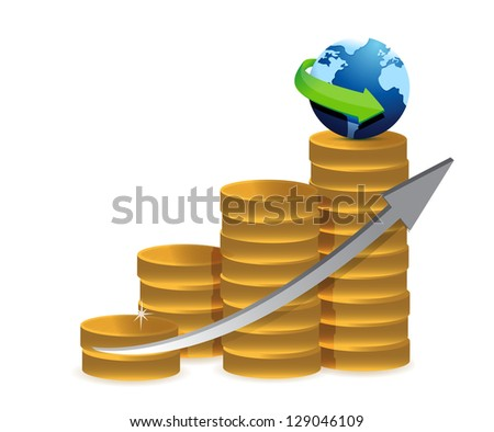 coin graph globe illustration design over a white background - stock photo