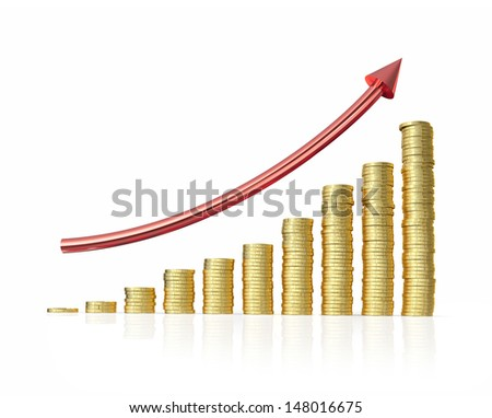 Coin graph  isolated on white with clipping path  - stock photo