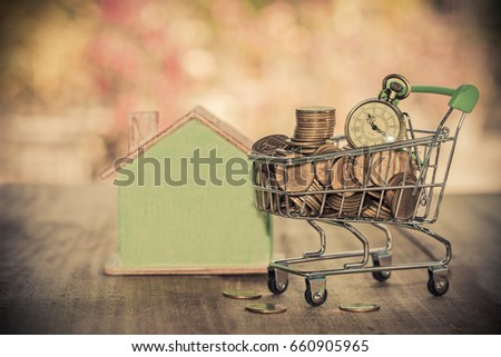 coin in shopping cart .carry to buy an house
