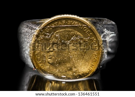 coin in the ice - stock photo