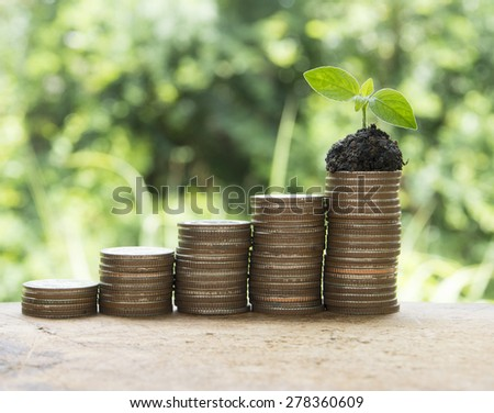 Coin increase in graph form. business concept,investment concept,growth concept, - stock photo