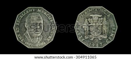 Coin Jamaica 5 cents - stock photo