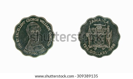Coin Jamaica 10 dollars - stock photo
