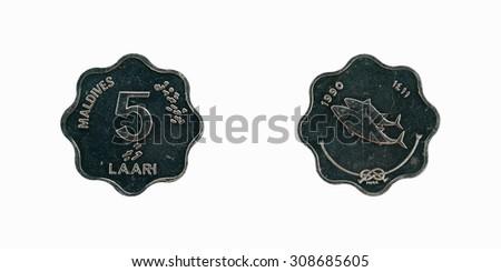Coin Maldives  5 laari 1990 - stock photo