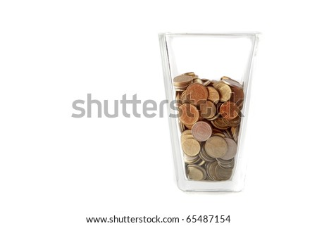Coin Money in a Glass on white background - stock photo
