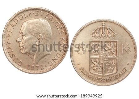 coin of sweden isolated on white background - stock photo