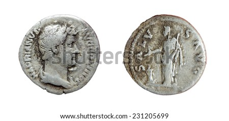 Coin Old silver Roman denarius - stock photo