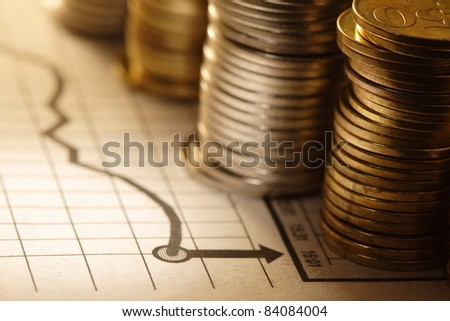 coin on chart - stock photo