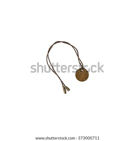 Coin on string, necklace amulet, talisman - stock photo